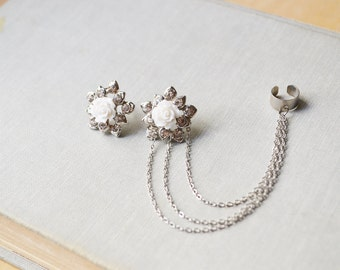White Rose Crystal Ear Cuff Earrings (Pair)