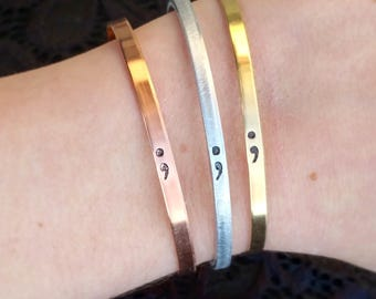 Semi Colon Bracelet, Anxiety Awareness, Mental Health, Semicolon Jewelry, Semi-Colon Bracelet, Anxiety Jewelry, Semi Colon Project