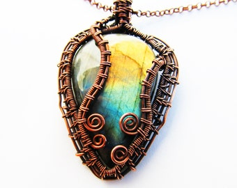 "Pendant - Labradorite & Copper Wire - 1.75"" x 2.75"" (45mm x 70mm)"