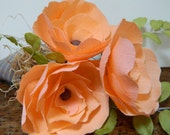 Peach Rose Paper Flower trio - Paper cone filled with raffia and flowers - birthdays, get well, friendship, congratulations, birthday