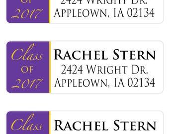 Class of 2017, Graduation Address Label, Return Address Label, Graduation Label, Graduation Envelope Seal,  Graduation Party Labels (491)
