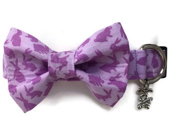 Easter Bunny Rabbit Lavender Bow Tie Dog Collar All Sizes