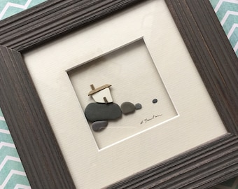 6 by 6 pebble art by sharon nowlan framed seaside house made with beach pottery