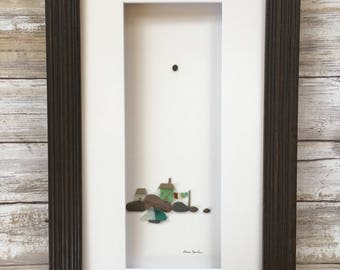 Original pebble art 8 by 15 seaside house, clothesline and whale wall art by sharon nowlan available framed or unframed