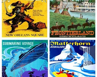 Disneyland Vintage Poster Coasters - YOUR CHOICE - Set of 4