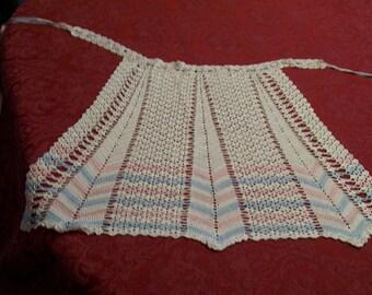 Vintage Crocheted Apron Ribbon Ties Hand Stitched Circa 1950s Pink and Blue Horizontal Crochet Apron Sweet Sassy Half Apron