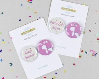 Penblwydd Hapus, Happy Birthday Unicorn Button Badges, Bathodynau Botwm 45mm