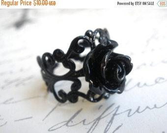 SALE Black Ring, Black Rose Ring,  Adjustable Ring, Flower Ring, Silver Ring, Petite Ring, Cabochon Ring, Filigree Ring, Friend Gift, Teenag