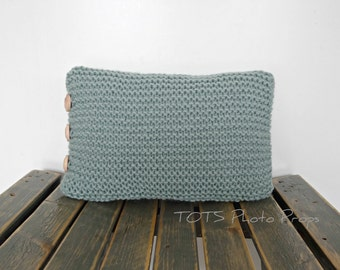 Newborn Pillow Photography Prop in Seafoam, Green Knit Newborn Mini Pillow Photo Prop, RTS