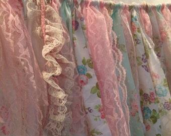 Shabby chic tattered fabric banner, nursery, valance, decoration wall decor