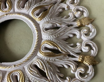 """Shabby chic baroque 20"""" ceiling medallion, BLUSH PINK and brilliant Gold, beautiful"""
