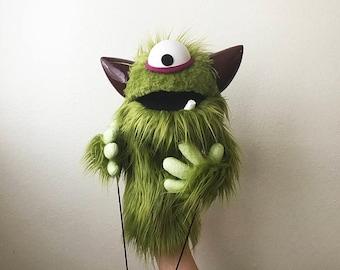 Professional Green Furry Cyclops Monster Puppet
