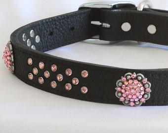 Stunning Black Leather Dog Collar, Leather Dog Collar , Pink Leather Dog Collar, Custom Leather Dog Collar, 19-22' Neck or XL