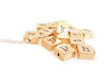Personalized Handstamped Jewelry - Square Initial Letter - Customized Stamped Jewelry - Birthday - Wedding - Gifts for Her