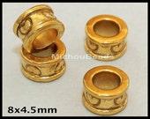 25 Antiqued GOLD 8mm EUROPEAN Beads - 8x5mm Tibetan Style Large 4.5mm Hole Metal Rondelle Boho Nickel Free Beads w/ Heart - USA - 5539