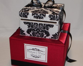 Crimson RED and BLACK and WHITE Damask Card Box