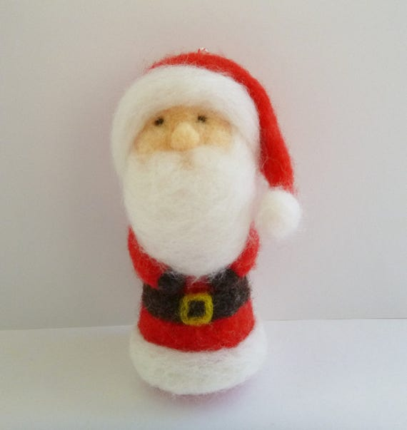 Santa Claus Christmas ornament - St Nick ornament - Father Christmas ornament - needle felted ornament - stocking stuffer - made to order