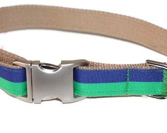 Wide Dog Collar Striped Green and Blue XL Dog Collar Preppy Large Dog Collar Boy Dog Collar Giant Dog Collar XL Wide Dog Collar
