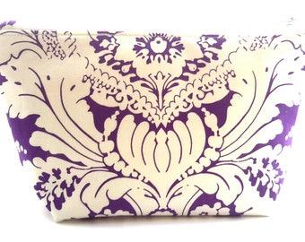 Purple Damask Makeup Bag - Cosmetic Bag - Travel Bag - Bag Organizer - Zipper Pouch  - Accessory Bag - Project Bag - Cosmetic Case