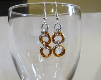 Orange Rosebud Chainmaille Earrings