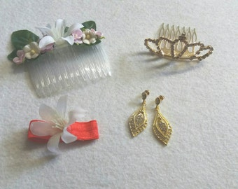 Princess Mulan Costume Set of Flower Comb, Earrings, flower band and crown