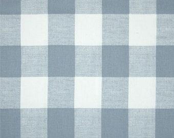1 Yard Cashmere Blue Buffalo Check Fabric - Premier Prints Fabric - Light Blue and White Buffalo Check. Gingham - Fabric by the Yard