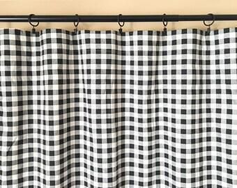 Black Plaid Drapery Panels. Pair of Two. 63 84 90 96 108 Length. Plaid Gingham Custom Window Treatments. buffalo check curtains.