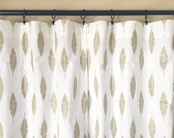 Athena Gold Feather Silhouette. Pair of 2 Drapery Panels. Gold. Bedroom Window Treatments. Metallic Curtains. Feather Curtains.