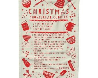 Recipe Tea Towel, Gift Idea for Her, Gift for Cookie Lovers, Christmas Cookies Tea Towel, Christmas Kitchen Linen, Shortbread Cookie Towel