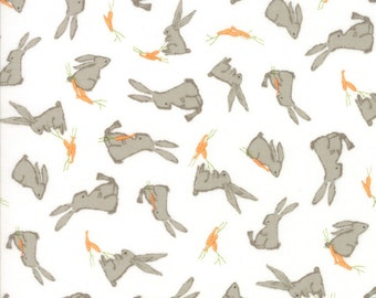 Children's Bunny Rabbit Fabric in White - Darling Little Dickens by Lydia Nelson from Moda 1/2 Yard