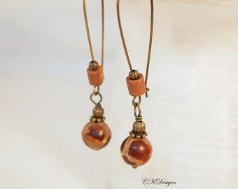 Tibetan Natural Agate Bead Earrings, Brown Agate Earrings Brown, Earthy Earring, Long Earrings, Hippy Earrings, Boho Earrings