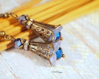 Victorian Style Lucite Earrings, Blue Dangle Pierced or Clip-on Earrings, Boho Earrings, Victorian Earrings, OOAK Handmade Earrings.