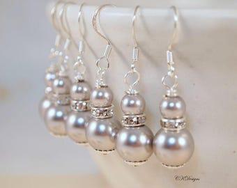 Pearl Wedding Earrings, Grey Pearl Earrings, Wedding Dangle Pierced or Clip-on Earrings, OOAK Handmade Earrings. CKDesigns.US
