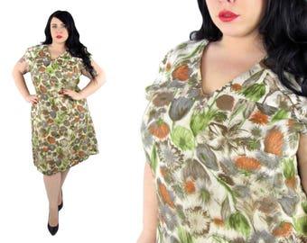 Plus Size Vintage 1960's Silk Sheath Dress Size 1X