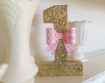 """First Birthday #1 ~ Gold Glitter with Pink Dotted Bow ~ 8"""" Free Standing ~ Photo Prop ~ Decoration ~ Table Decor"""