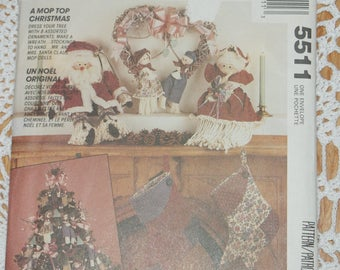 Vintage Retired McCalls Crafts A Mop Top Christmas Pattern  5511 Santa Christmas decor Christmas Stocking pattern