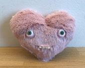 Mr Heart, with teeth / Teddy Bear with teeth - Decorative Doll - Handmade and OOAK /Ready to ship/ Quirky Uncanny Scary Creepy Cute