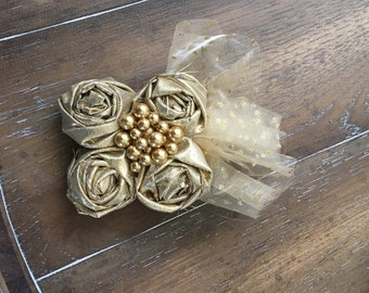 Ready to Ship - Gold Rosette Hair Piece Clip with AlligatorClip and Gold Tulle with Pearl Center / Lightweight