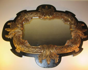 PORTAL To ANOTHER WORLD / Jaw Dropping Over 4 Ft. Long Black And Gold Over-The-Top Rococo Horizontal Mirror / Massive Acanthus Details