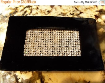 Now On Sale Vintage Rhinestone Clutch Black Velvet Beauty Classy Collectible Old Hollywood Glam Purse Glamour Girl Handbag Mad Men Mod 1950'