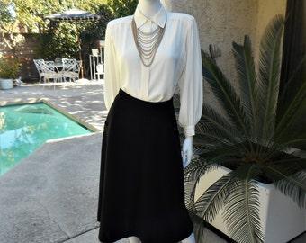 Vintage 1950's Black Wool Skirt - Size 6