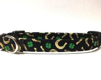 Dog Collar- Black/ Horseshoe Clover