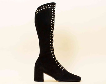 60s Vtg Incredible! Black Suede Leather STUDDED Zip Front GoGo Knee High Boots / Chunky Platform Heel MOD Rock N Roll / 7.5 Eu 38