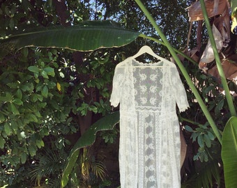 Love In Morocco Embroidered Lace Coverup, Boho style cardigan, Sheer Cardi, One size fits all, Fits S M L, Color in white