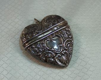 Victorian Sterling Heart Locket Pendant Vintage Art Nouveau Repousse
