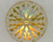 Vintage Clear Glass Sewing Button with Gold Luster ~ 7/8 inch 23mm ~ Fab Starburst Flower Snowflake Design
