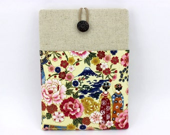 iPad Pro Cases, Gift For Her, With Pocket iPad Case, Cats Purple, Maiko Peony Yellow