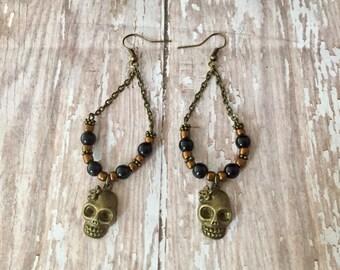 Skeleton Earrings, Skull Earrings, Day of the Dead, Bronze Skull Earrings, Halloween Earrings, Goth Earrings, Punk Earrings, Skull Jewelry