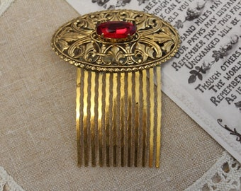 Vintage - Antique - Gold, Red Bridal Hair Comb - Bridesmaid - Headpiece