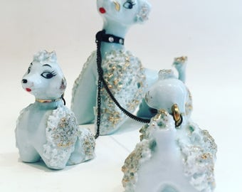 RARE Porcelain Poodle Set - Mama Pooch with Two Puppies - 1950s L&M Japan Porcelain Poodles with Rhinestone Collar and Leashes